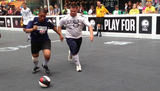 David Whitener, right, in a match against a San Francisco team in New York City. - COURTESY OF KEITH DEISNER