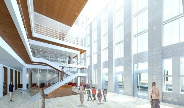 A rendering of the atrium proposed for the main library. - IMAGE VIA