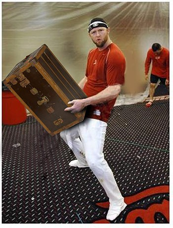 To send Dunc' off to the East coast, here's him, giving a special farewell hump to a steamer trunk