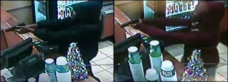 (Left) The Subway robbery on Dec. 8; (Right) the Subway robbery in mid-November