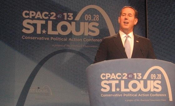 "Santorum to CPAC faithful: ""As conservatives we have to get better at telling stories."" - PHOTO: MIKE APPELSTEIN"