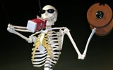 The YouZeum's milk-drinking, weight-lifting skeleton. - YOUZEUM.ORG