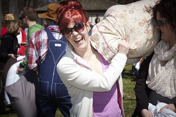 Pillow fight! - PHOTOS BY STEVE TRUESDELL