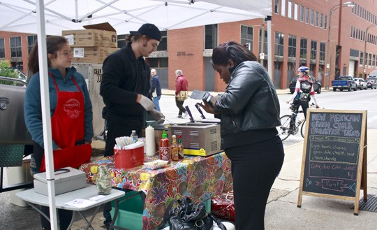 There were several food trucks offering their wares at the PARK(ing) Day event Friday. - SAVANNAH DODD