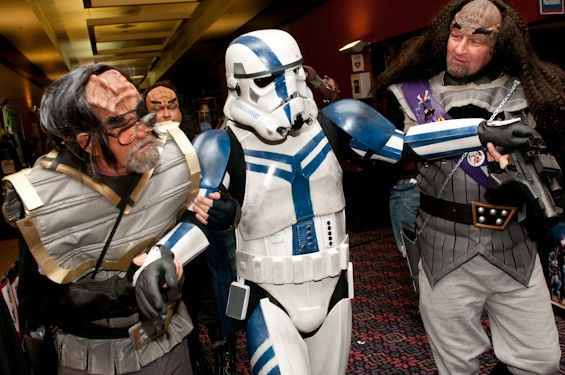 Klingons haul away a Stormtrooper. Does this mean that Star Trek is better than Star Wars after all? See more Archon 38 photos here. - JON GITCHOFF