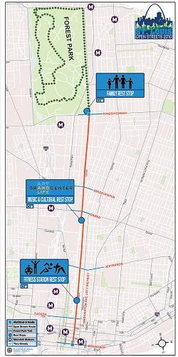 The route of the first Open Streets event, held May 1.