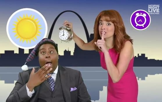 Keenan Thompson and Cecily Strong as Channel 4 morning hosts. - YOUTUBE SCREENGRAB