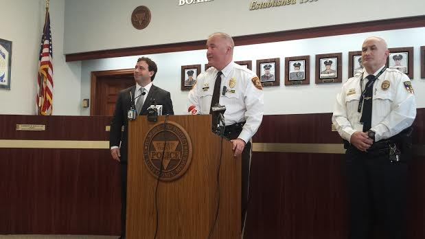 St. Louis County Police Chief Jon Belmar and County Executive Steve Stenger update media on the shooting. - JESSICA LUSSENHOP