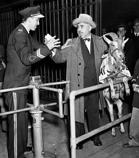 The day the Cardinals' current troubles began?: Billy Sianis and Murphy the goat at Wrigley Field in 1945. - IMAGE VIA