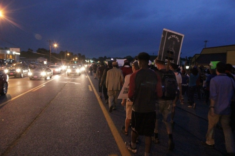 Protesters continued to march into the night.