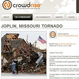 Alivio Foundation has raised more than $9,700 online for Joplin, but where is the money? - CROWDRISE.COM/JOPLINMISSOURITORNADO