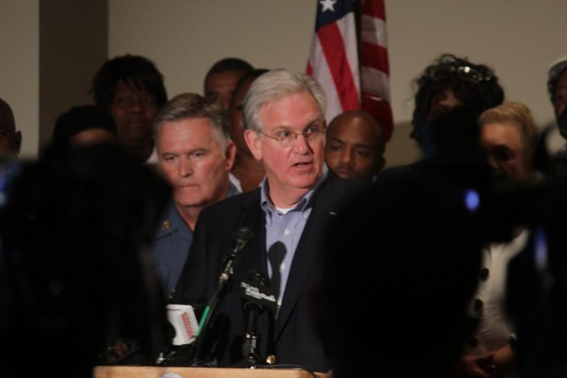 Governor Jay Nixon addresses the crowd at Greater St. Mark Family Church on August 16. - DANNY WICENTOWSKI