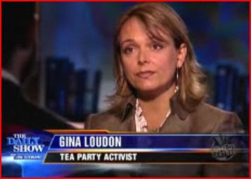 Local Tea Partier Gina Loudon on The Daily Showa few months ago. - IMAGE VIA