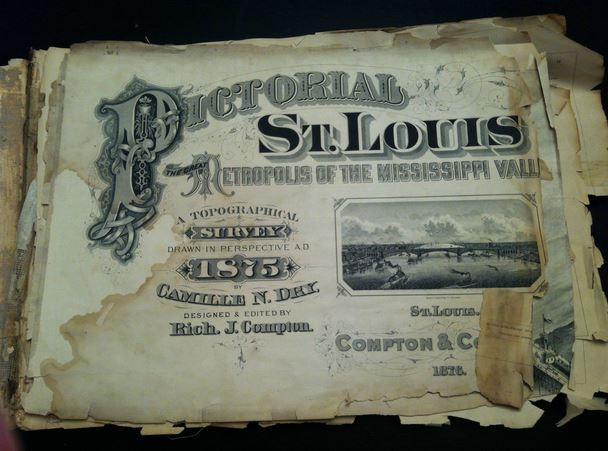 The cover of the  Brandon Clark's copy of Pictorial St. Louis. - IMGUR