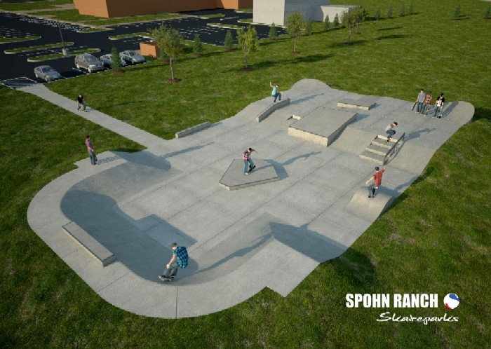 O'Fallon's park has no vert, but lots of grind potential. - SPOHN RANCH SKATEPARKS