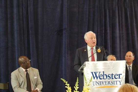 George Herbert Walker III with Webster University Dean of School of Business and Technology Benjamin Akande. - AMIR KURTOVIC