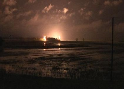 Explosives detonate the Birds Point levee last night. - ARMY CORP OF ENGINEERS VIA KFVS