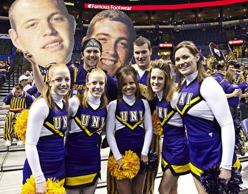 University of Northern Iowa cheerleaders. - PHOTO: STEVE TRUESDELL