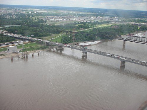 The Poplar Street Bridge (foreground) as viewed looking toward East St. Louis. - FLICKR.COM/PHOTOS/BKRAMME