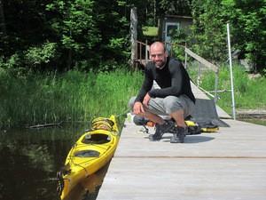 Daniel Alvarez and his big yellow kayak.