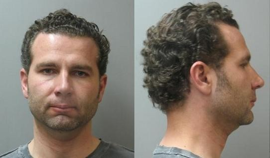 Mugshots of Ohlsen when arrested in Ladue in March 2008 on charges of speeding and possessing controlled substances and a stolen handgun.