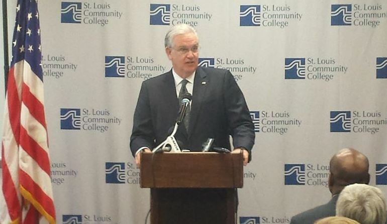 "On Tuesday, Missouri Governor Jay Nixon called for an ""unflinching"" study of the St. Louis region's challenges in the wake of Michael Brown's death. - DANNY WICENTOWSKI"