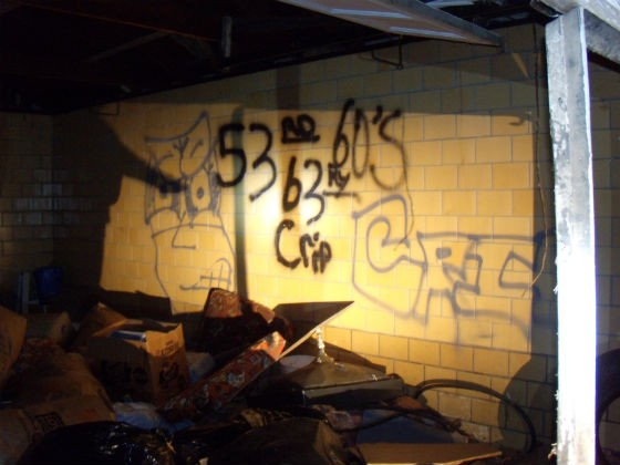 Gang-related graffiti she observed on a recent ride-along with police. - VIA