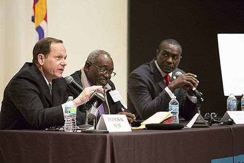 Francis Slay, left and Lewis Reed, right, at a mayoral debate earlier this year. - PHOTO BY THEO R. WELLING