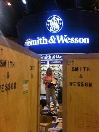 Some 500 booths were being set up today for the NRA conference - PHOTO BY NICHOLAS PHILLIPS