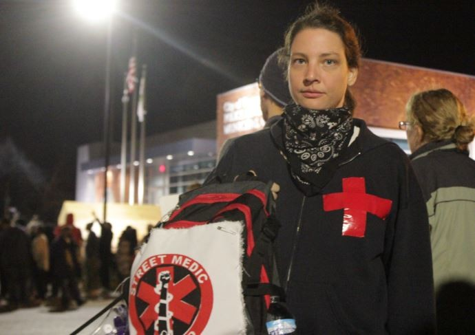 St. Louis street medic Andrea Schmidt says she has treated dozens for tear-gas exposure. - DANNY WICENTOWSKI