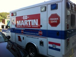 """I break for..... whatever isn't Obamacare?"" Ed Martin and co probably have some more brainstorming to do on the bumper sticker front."