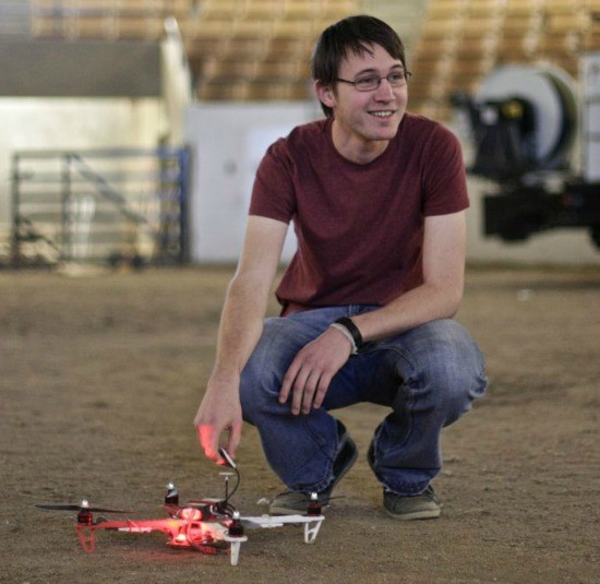 A student during a practice run of the Mizzou drone. - SALLY FRENCH