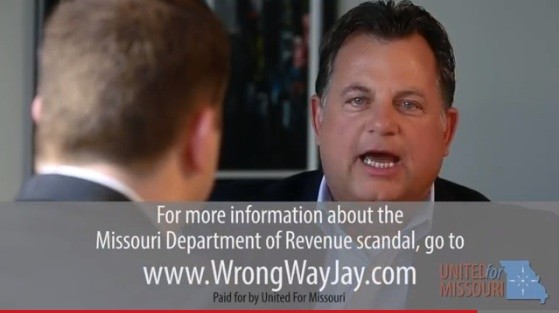 "Screenshot of the ad blitz on the Department of Revenue ""scandal"" pressuring Nixon to intervene. - VIA YOUTUBE"