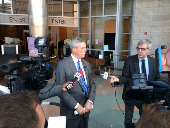 St. Louis prosecuting attorney Bob McCulloch tells reporters about the charges against Adam Capriglione. - LINDSAY TOLER