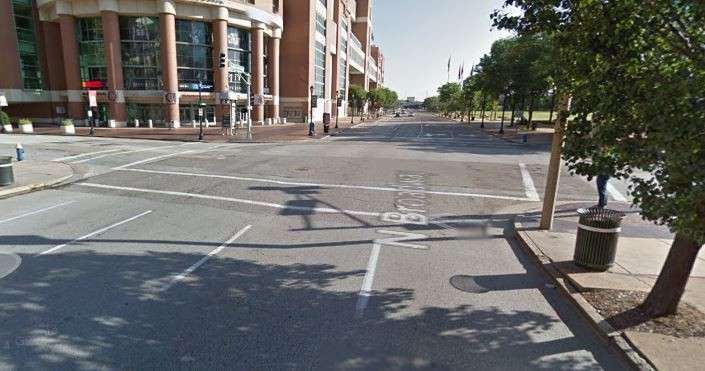 The intersection of Broadway and Convention Plaza, the center of St. Louis' dumpster-on-BMW scene. - GOOGLE