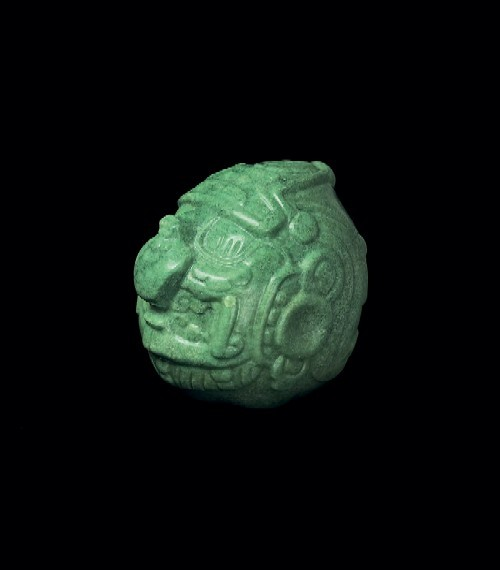 Head of a Deity, 550-650; Altun Ha, Belize; jadeite. - PHOTOGRAPH COURTESY NATIONAL INSTITUTE OF CULTURE AND HISTORY, BELIZE.
