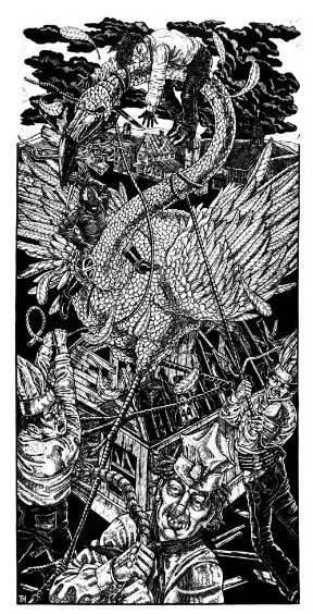 "Attack of the Fifty-Foot Yard Ornament (the print), 1999, woodcut, 40 x 80"", from Tom Huck: Brutal Truths. - COURTESY OF THE PHILIP SLEIN GALLERY"