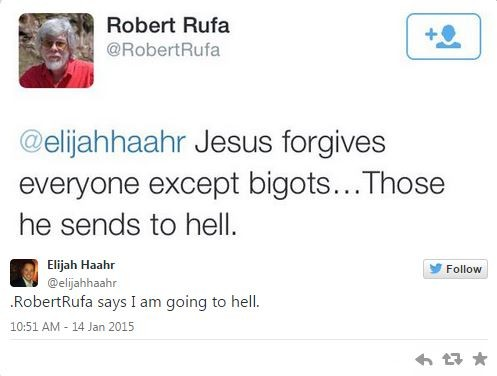 This was one of the nicer responses to Rep. Elijah Haahr's religious freedom bill. - TWITTER