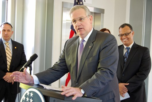 Missouri Governor Jay Nixon Thursday. Nixon joked the planned high-speed rail line between St. Louis and Chicago would be a boon for Cardinals fans who want to travel to Chicago to see their team beat the Cubs.