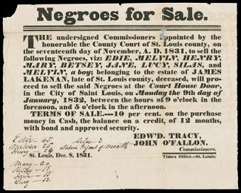 A St. Louis newspaper ad from 1832 announces a slave sale at the courthouse steps.