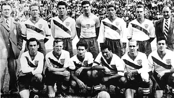 Harry Keough, top row, third from right, and the 1950 U.S. national soccer team. - IMAGE VIA