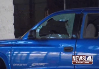 Damage after the shooting last night. - VIA KMOV.COM SCREENSHOT