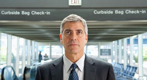 """""""George Clooney plays a commitment-phobic business traveler with no use for meaningful human interaction"""" in Up in the Air, writes Robert Wilonsky."""