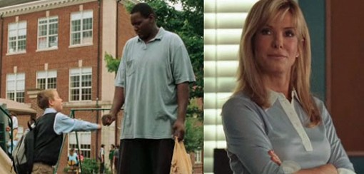 """""""The steel Magnolia who takes pity on homeless Big Mike after she sees him walking in the freezing rain in just a polo shirt and XXX-large denim shorts is Leigh Anne Tuohy (Sandra Bullock),"""" writes Melissa Anderson."""