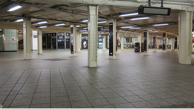 The Times Square station where people are normally panhandled or urinating in a corner.