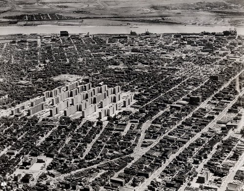 Back in its heyday, Pruitt-Igoe occupied a large portion of the north side cityscape. - IMAGE VIA