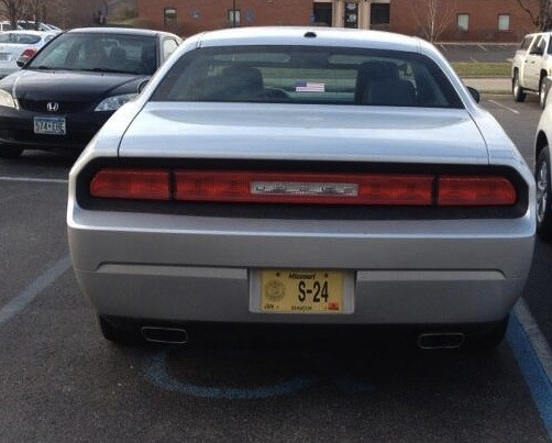 John Lamping's car in a handicap spot. - VIA TWITTER