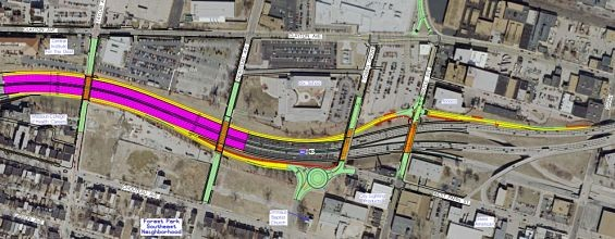An overview of the Tower Grove project, from Taylor Avenue to Sarah Street. - COURTESTY MODOT