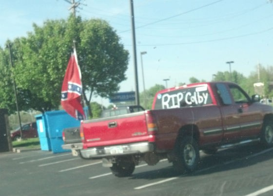Car with confederate flag in honor of Colby. - COURTESY OF JODIE SNIDER.