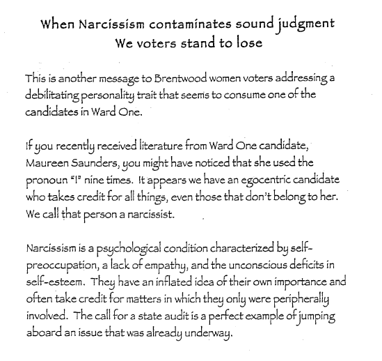A copy of one of the mailers - MISSOURI ETHICS COMMISSION